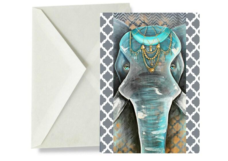 ELEPHANT Card Collection- african, Boris, colourful elephant, tribal art,  boho art