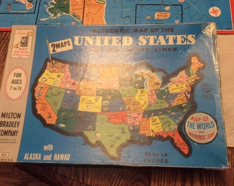Vintage twister game complete 1966 twister retro game night etsy vintage map of the usa puzzle milton bradley map of the world puzzle gumiabroncs Gallery