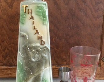 Collectible 1969 Jim Beam Thailand Decanter, Stoneware China Decanter, Vintage Barware