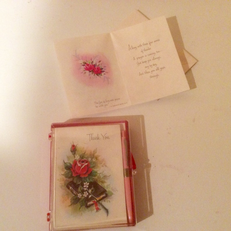 Vintage stationary set thank you note cards mid century religious thank you notes in box