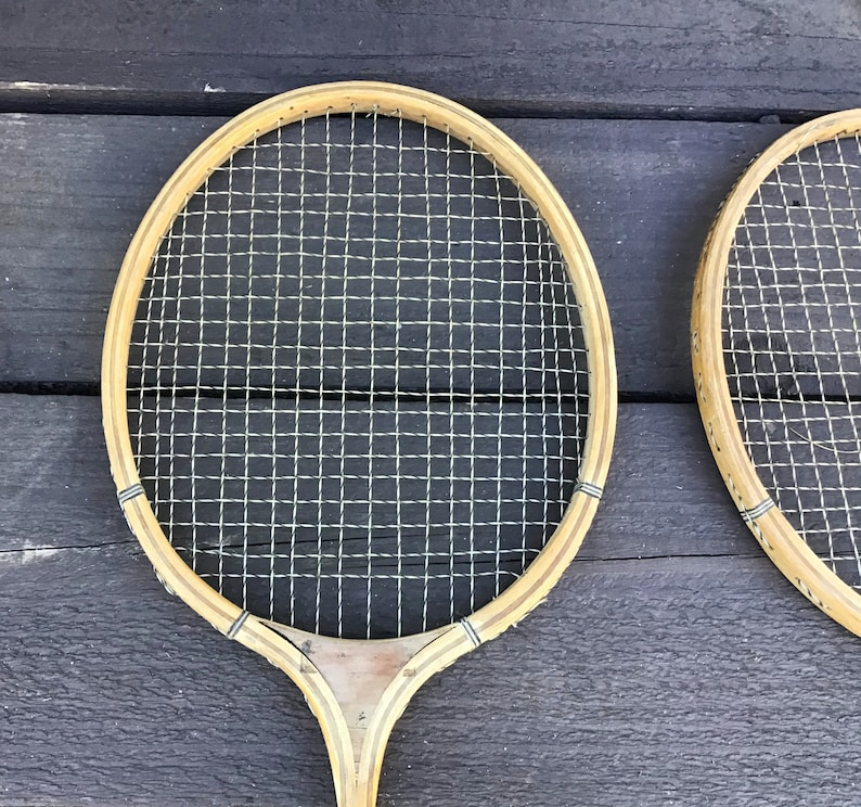 Vintage Wood Badminton Racquets Game Room Wall Decor Wood and Metal Racquets