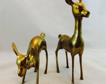Vintage Brass Deer Pair, Brass Doe and Fawn