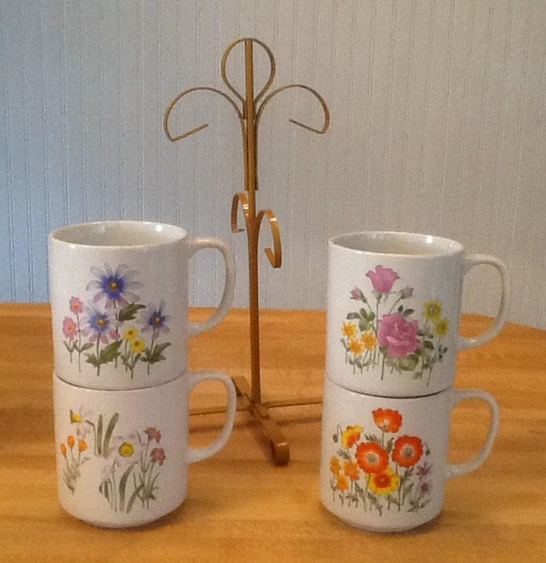 Tree Mugs With Vintage Coffee Mug Cups 4 SetMetal CupsFloral And n0w8PkO
