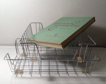 Vintage Wire Metal Office Baskets x 2, In Out Office Trays x 2