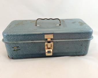 Vintage Turquoise Metal Fishing Tackle Box, Vintage Metal Storage Box