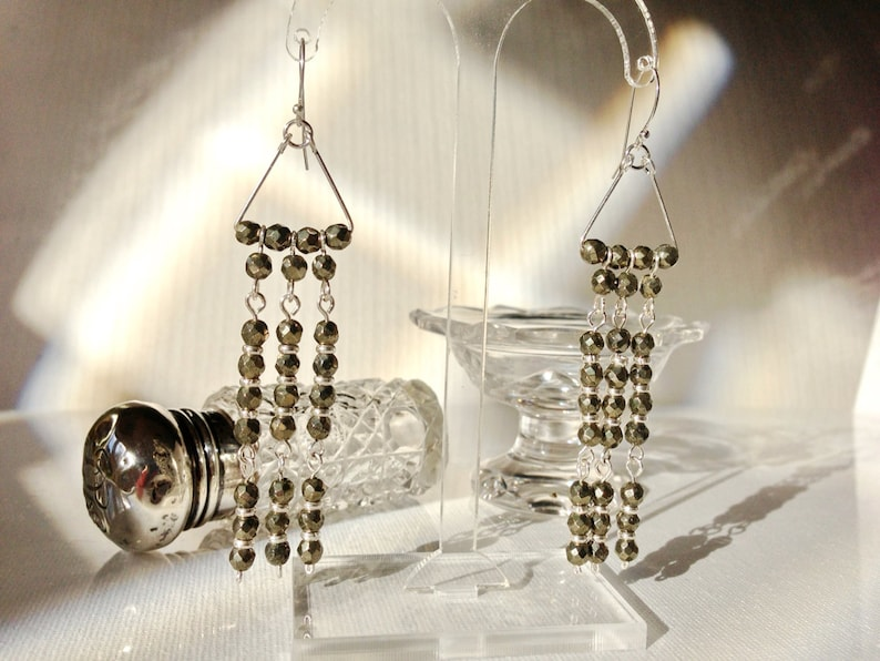Winter SALE......Art Deco Inspired Pyrite Long Chandelier Earrings