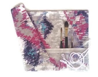 Artist Brush Roll, Pink Purple Grey Watercolour Brush Roll, Painters Gift,