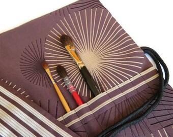 Paint Brush Roll Dark Brown Star Burst Design Artist brush roll
