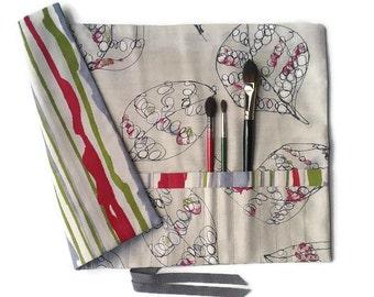 Artist Brush Roll, Autumn Leaf Design, Paint Brush Roll, Gift for Artist,