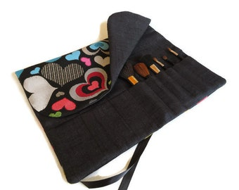 Makeup Brush Roll, Heart Brush Roll up, Cosmetic Brush Organizer, Travel Accessory