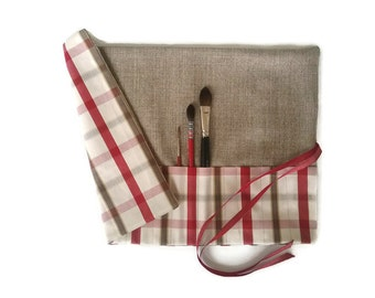Artist Paint Brush Roll, Cherry Red Plaid Check Natural
