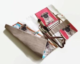 Paint Brush Roll Cute Pug Puppies Artist Brush Roll