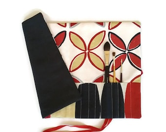 Artist Watercolour Paint Brush Roll Red Charcoal Brush Roll Scandi style