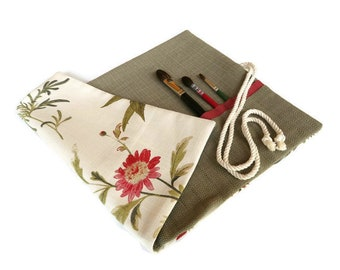 Artist Paint Brush Roll Red and Green Floral Botanical Brush Roll