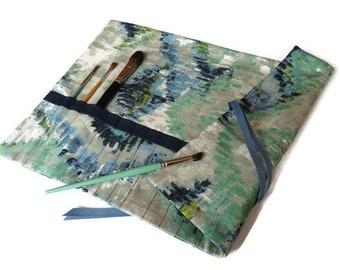 Paint Brush Roll Green & Blue Artist Brush Roll Creative Gift