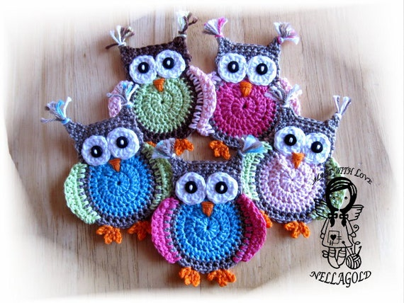 Crochet pattern applique jolly owl diy pattern 4 instant etsy