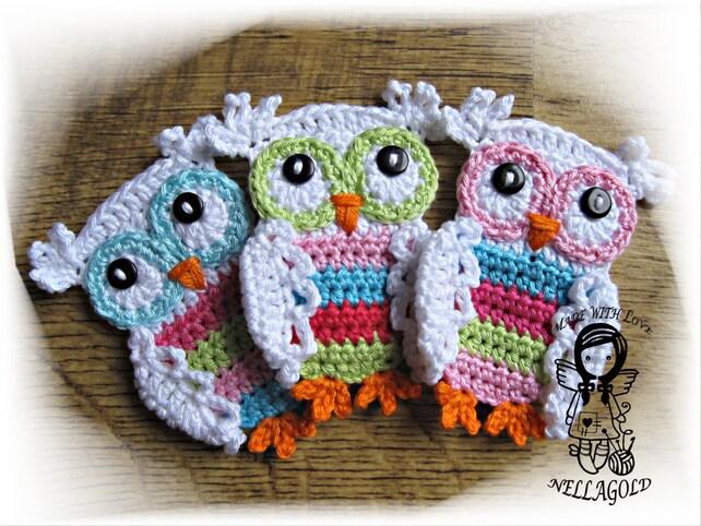 PATRÓN de crochet apliques color buho buho de apliques DIY | Etsy