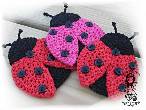 Crochet Pattern Applique Ladybug Patch Brooch Application Etsy