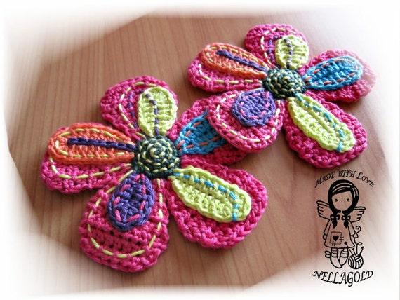 Häkeln Sie Muster Große Blume Applique Diy Muster 12 Etsy