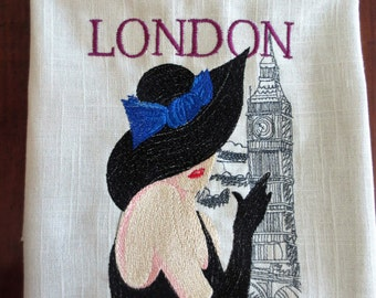Machine Embroidered Wall Decor Art - LONDON LADY