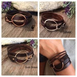 Women or Men Boho Healing Properties Silver or Gold Leather Wrap Bracelet Arthritis Copper Distressed Brown Leather Toniraecreations