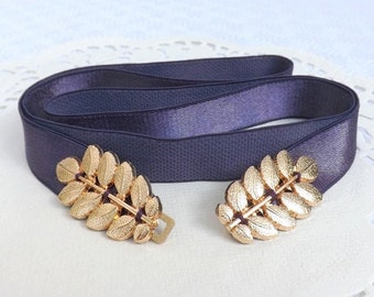 b07bacfec23 Dark purple elastic Gold grecian leaf dress belt