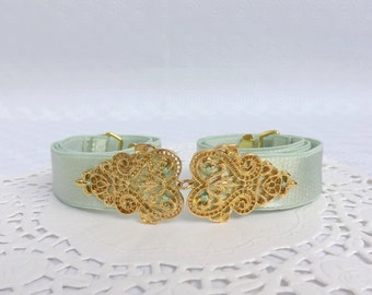 Mint green elastic waist belt. Gold filigree vintage style belt. Bridal/ bridesmaid light green wedding belt. Dress belt. Stretch belt.