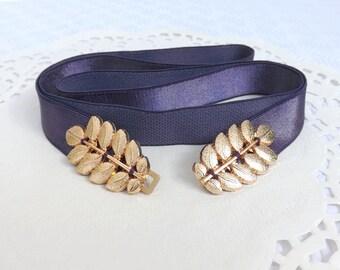 Dark purple elastic waist belt. Gold leaf belt. Grecian belt. Deep purple bridal/ bridesmaid wedding belt. Greek belt.
