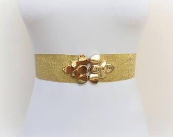 Gold glitter elastic waist belt. Gold leaf belt. Gold sparkly belt. Wide dress belt. Bridal belt. Evening belt. Golden belt. Elegant belt.