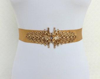 Gold Elastic Waist Belt. Gold Filigree buckle. Bridal Wide Belt. Gold Wedding Belt.
