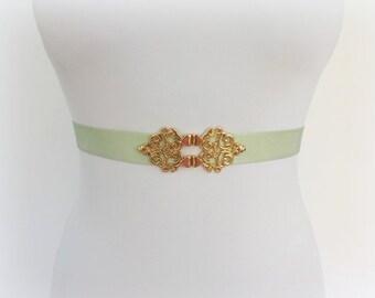Mint green elastic waist belt. Gold filigree buckle. Wedding belt. Bridal belt. Bridesmaids belt. Dress belt. Pastel green belt