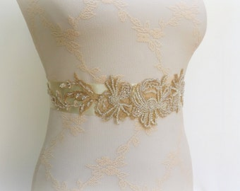 Ivory sash. Gold floral sash. Beaded sash. Embroidered sash. Bridal sash. Gold sash. Wedding dress sash.