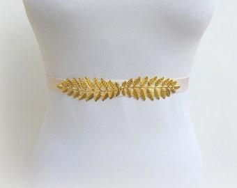 Ivory elastic waist belt. Gold leaf belt. Grecian belt. Bridal dress belt. Bridesmaids belt. Stretch belt. Greek belt. off white belt.