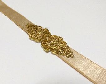 Champagne Elastic waist belt. Bridal/ bridesmaid gold waist  belt. Vintage inspired waist belt.