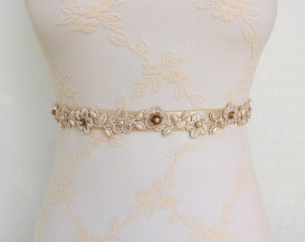 Champagne Elastic Waist Belt. Champagne Lace flowers decorated with champagne pearls and golden flowers. Floral Bridal Waist Belt.
