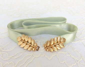 Mint Green Elastic Waist Belt. Gold Leaf Buckle. Grecian Style Bridal/ Bridesmaid Wedding Belt.