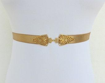 Gold elastic waist belt. Skinny dress belt. Bridal/ bridesmaid gold wedding belt. Stretch belt.