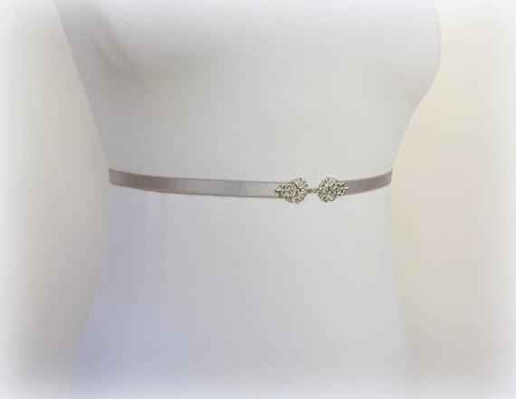 Gray bridal thin elastic waist belt, Silver jeweled wedding dress belt