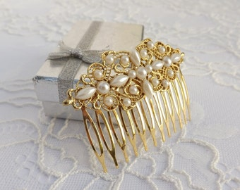 Gold hair comb. gold filigree head piece. pearls hair comb. bridal/ bridesmaid hair accessories. vintage inspired hair comb.