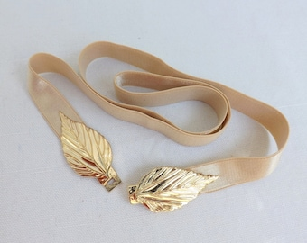 Champagne Elastic Waist Belt. Gold Leaf Buckle. Nude Belt. Bridal/ Bridesmaid Wedding Belt.
