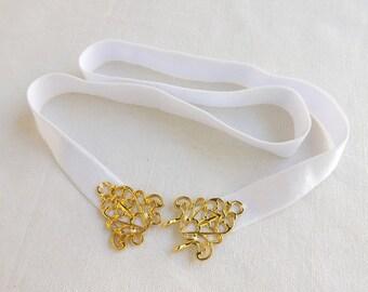 White elastic waist belt. Gold filigree buckle. Stretch belt. Dress belt. Bridal/ Bridesmaid belt.