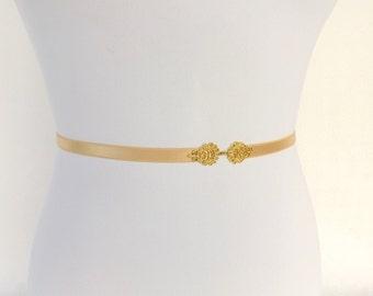Gold Elastic Waist Belt. Skinny waist belt. Gold filigree buckle. Bridal / Bridesmaid belt.