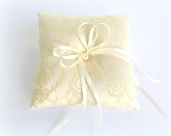 Ivory wedding ring pillow. Brocade Ring bearer. Ivory cushion ring with pearl button.