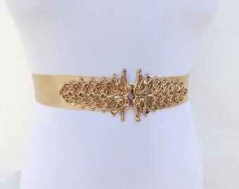Champagne elastic waist belt. Gold filigree buckle. Wide belt. Bridal/ Bridesmaid belt. Wedding dress belt.