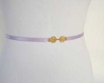 Light purple elastic waist belt. Gold filigree vintage style buckle. Bridal/ Bridesmaid thin elastic waist belt.