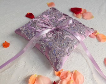 Purple wedding ring pillow. Lilac satin ring bearer decorated with lace and beads embroidery.