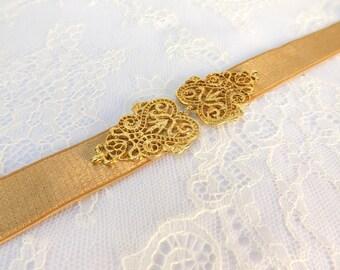 Gold Elastic waist belt. Gold vintage style filigree buckle. Bridal/ Bridesmaid waist belt.
