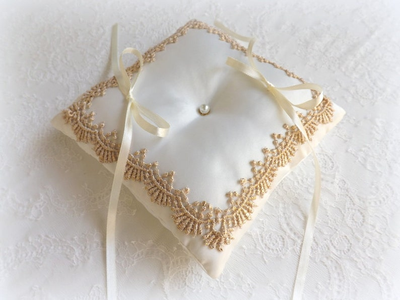 Ivory and gold lace vintage style wedding ring bearer pillow