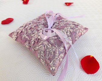 Floral Lilac purple wedding ring bearer. Lilac Satin Ring Pillow decorated with embroidered lilac lace.