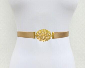 ON SALE. Gold Elastic Waist Belt. Gold Floral Buckle. Bridal/ Bridesmaid Gold Wedding Belt.